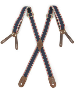 OUTSTANDING BUTTON TAB STRIPE SUSPENDER[STRIPE-1]