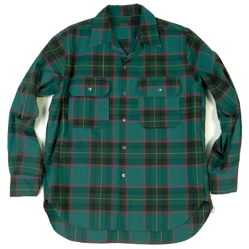 CHECK OPEN COLLAR SHIRTS[GREEN CHECK]