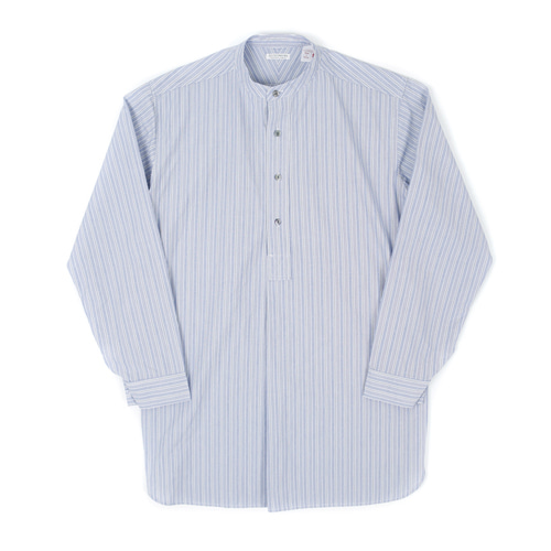VERTICAL BAND COLLAR PULL LONG SHIRTS[BLUE/NAVY] 아웃스탠딩 컴퍼니VERTICAL BAND COLLAR PULL LONG SHIRTS[BLUE/NAVY]