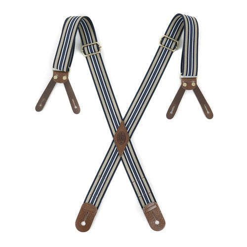 OUTSTANDING BUTTON TAB STRIPE SUSPENDER[STRIPE-3]
