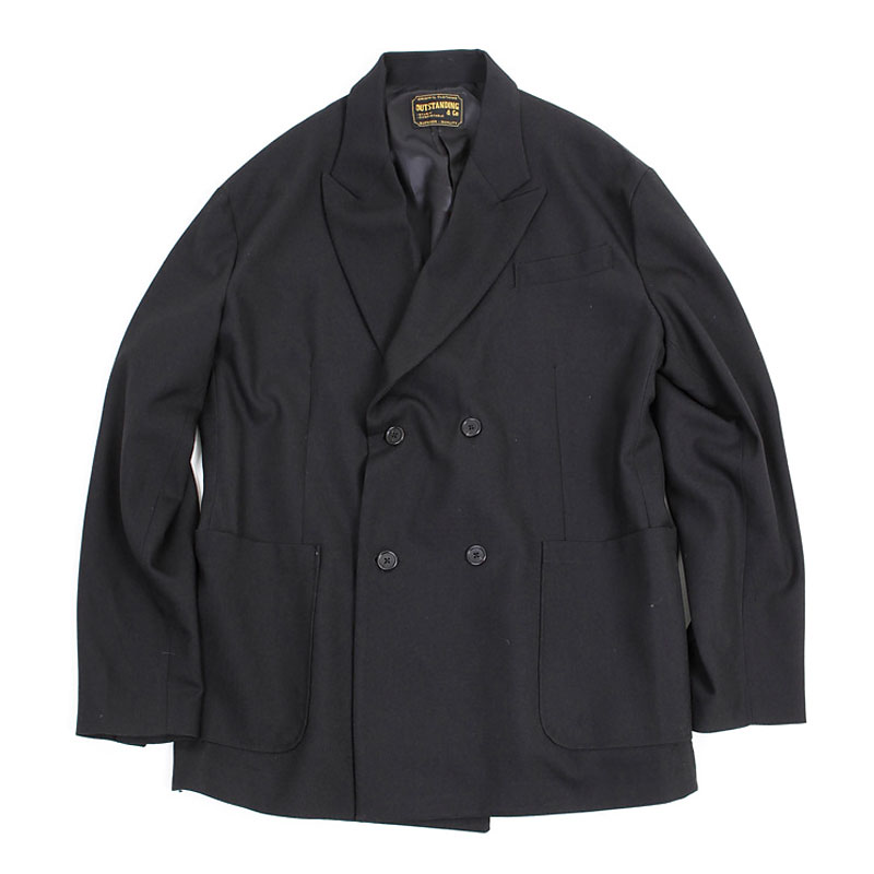 DOUBLE BREASTED WOOL JACKET [BLACK]