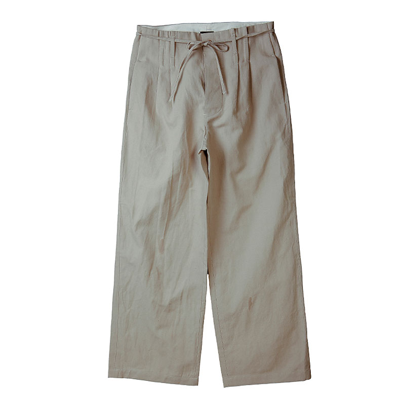 WIDE STRING LINEN EASY PANTS [BEIGE]