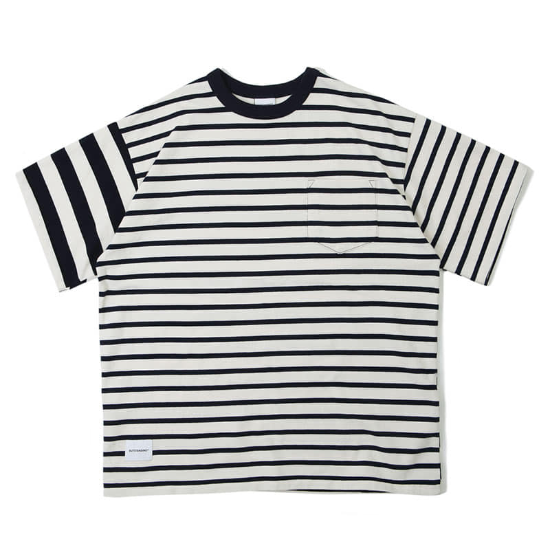 MIX BORDER TEE_NAVY_OFF WHITE