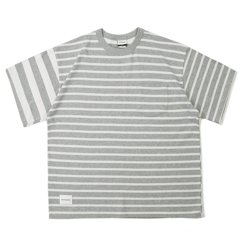 MIX BORDER TEE_GRAY_OFF WHITE