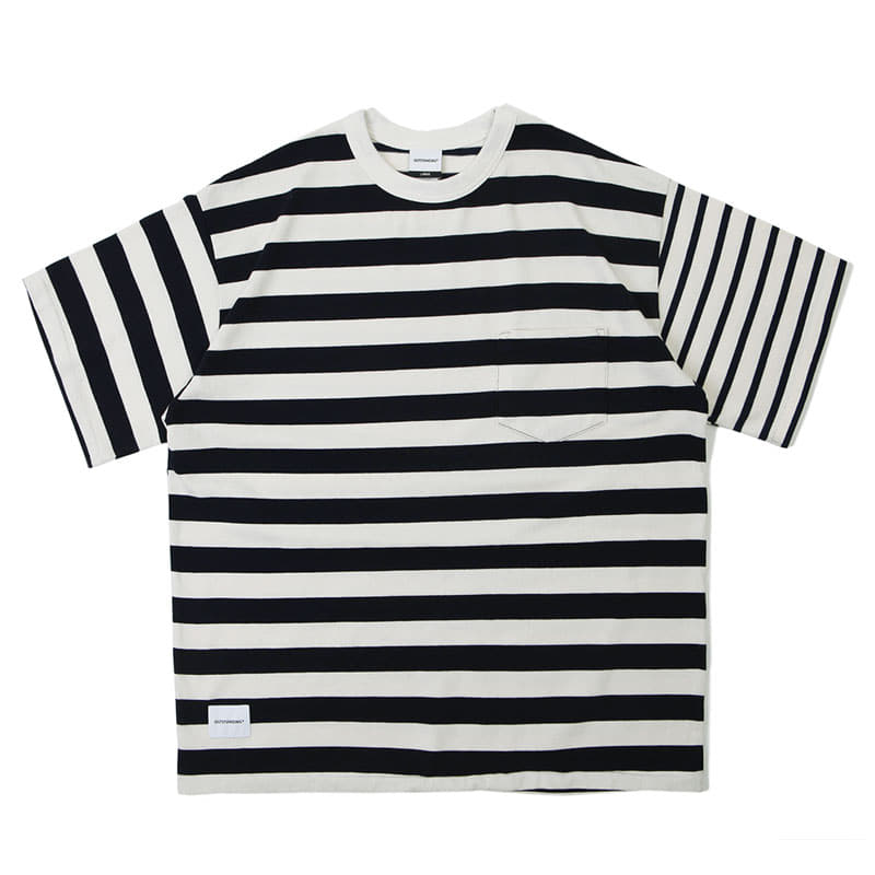 MIX BORDER TEE_2.5 NAVY