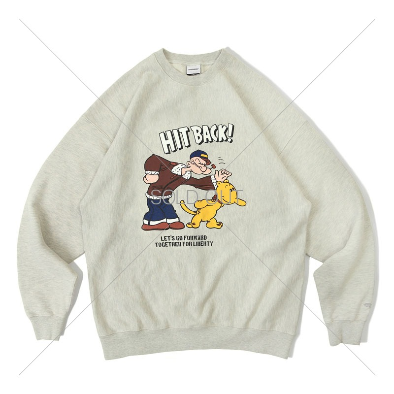 V.S.C SWEAT_HIT BACK_1% MELANGE OATMEAL 아웃스탠딩 컴퍼니V.S.C SWEAT_HIT BACK_1% MELANGE OATMEAL