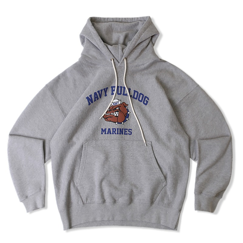 V.S.C HOOD SWEAT NAVY BULLDOG_8%MELANGE GRAY