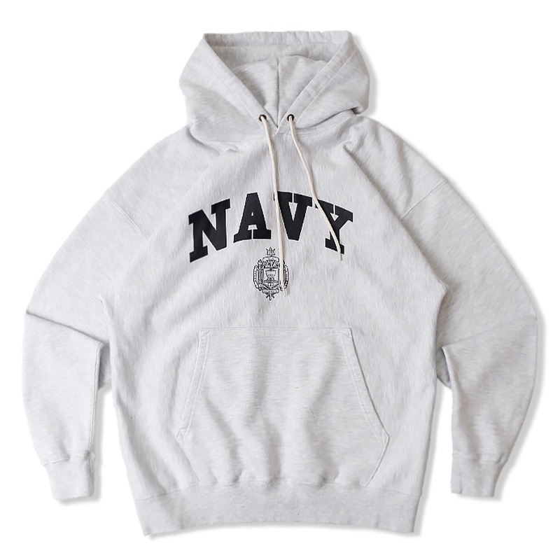 V.S.C HOOD SWEAT NAVY_1%MELANGE GRAY