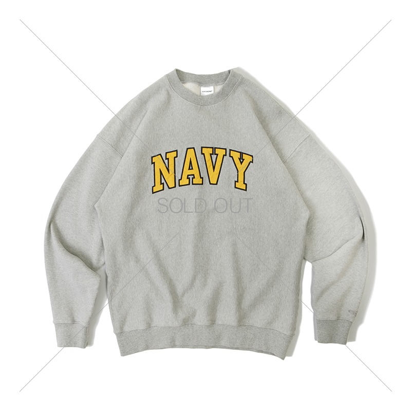 V.S.C SWEAT_NAVY PATCH_3%MELANGE GRAY 아웃스탠딩 컴퍼니V.S.C SWEAT_NAVY PATCH_3%MELANGE GRAY