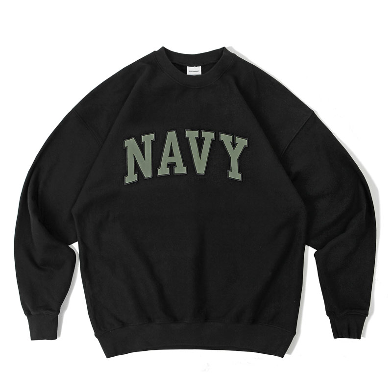 V.S.C SWEAT_NAVY PATCH_BLACK GRAY 아웃스탠딩 컴퍼니V.S.C SWEAT_NAVY PATCH_BLACK GRAY
