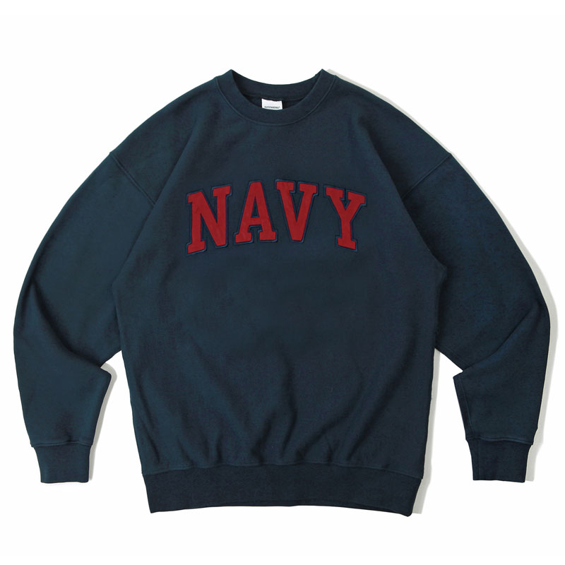 V.S.C SWEAT_NAVY PATCH_NAVY RED 아웃스탠딩 컴퍼니V.S.C SWEAT_NAVY PATCH_NAVY RED