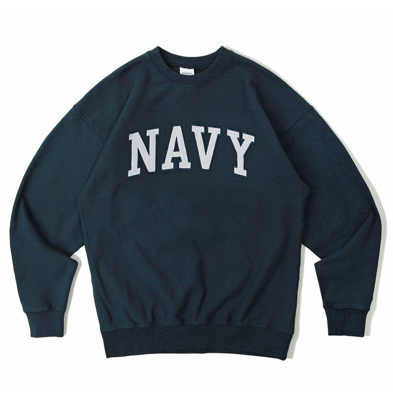 V.S.C SWEAT_NAVY PATCH_NAVY WHITE 아웃스탠딩 컴퍼니V.S.C SWEAT_NAVY PATCH_NAVY WHITE